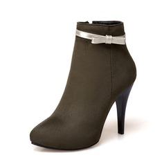 Frauen Veloursleder Stöckel Absatz Absatzschuhe Stiefelette mit Bowknot Reißverschluss Schuhe (088145072)