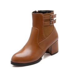 Frauen Kunstleder Stämmiger Absatz Stiefelette Schuhe (088074430)