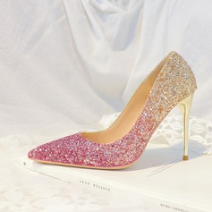Women's Microfiber Leather Stiletto Heel Closed Toe Pumps With Sparkling Glitter (047193135)
