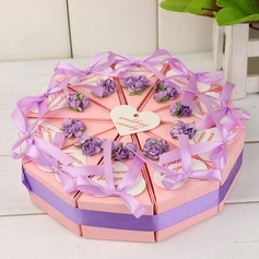 Pyramid Favor Boxes With Flowers/Ribbons (Set of 10) (050031671)