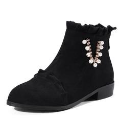 Frauen Veloursleder Niederiger Absatz Stiefel Stiefelette mit Nachahmungen von Perlen Geraffte Reißverschluss Schuhe (088143732)
