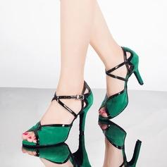 Donna Similpelle Camoscio Tacchi Sandalo Latino con Listino alla caviglia Scarpe da ballo (053071149)