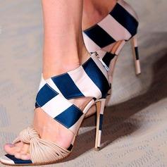 Donna PU Tacco a spillo Sandalo Stiletto Punta aperta scarpe (085153103)
