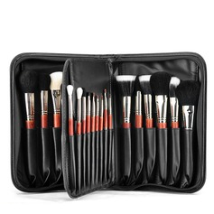 Artificial Fibre/Pony Hair/Mink Hair Practical 29Pcs Black PU Bag Makeup Supply (046074584)