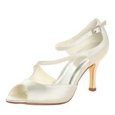 Vrouwen Satijn Stiletto Heel Peep-toe Sandalen met Gesp (047048019)