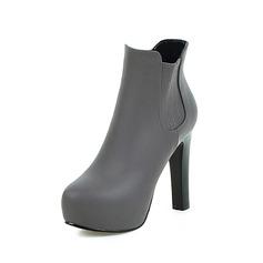 Frauen Kunstleder Stöckel Absatz Plateauschuh Stiefelette mit Reißverschluss Schuhe (088097366)