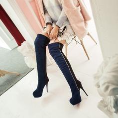 Frauen Veloursleder Stöckel Absatz Absatzschuhe Plateauschuh Stiefel Stiefel über Knie mit Zweiteiliger Stoff Schuhe (088140254)