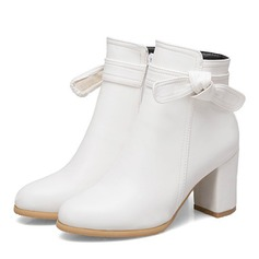 Women's Leatherette Wedge Heel Boots Closed Toe With Zipper (047190350)