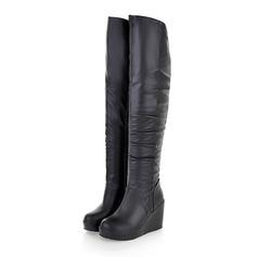 Donna Similpelle Zeppe Stivali al ginocchio con Increspato scarpe (088097403)