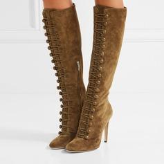 Frauen Wildleder Stöckel Absatz Absatzschuhe Stiefel mit Reißverschluss Knopf Schuhe (088109441)