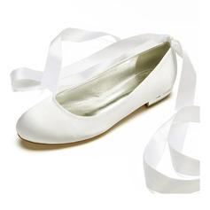 Frauen Seide wie Satin Flascher Absatz Geschlossene Zehe Flache Schuhe mit Zuschnüren (047187622)