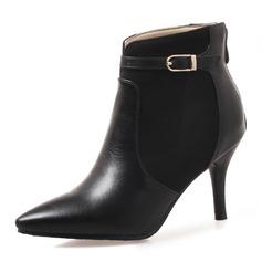 Donna Similpelle Tacco a spillo Punta chiusa Stivali Stivali alla caviglia con Fibbia Cerniera scarpe (088172568)