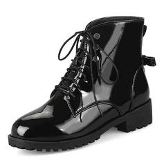 Frauen Kunstleder Niederiger Absatz Stiefel Stiefel-Wadenlang mit Zuschnüren Schuhe (088172961)
