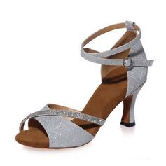 Donna Similpelle Tacchi Sandalo Latino con Strass Listino alla caviglia Scarpe da ballo (053075290)