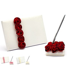 Bold Red Luxury Rose Lined Rose Guestbook & Pen Set (101018143)