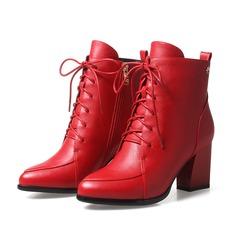 Frauen Kunstleder Stämmiger Absatz Absatzschuhe Stiefelette mit Reißverschluss Zuschnüren Schuhe (088103928)
