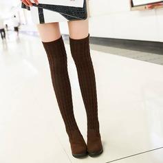 Frauen Veloursleder Flascher Absatz Flache Schuhe Keile Stiefel Stiefel über Knie mit Andere Schuhe (088144271)