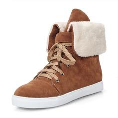 Donna Camoscio Senza tacco Punta chiusa Stivali Stivali altezza media Stivali da neve Martin boots con Allacciato scarpe (088176494)