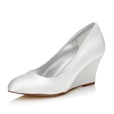 Frauen Satin Keil Absatz Geschlossene Zehe Färbbare Schuhe (047088676)