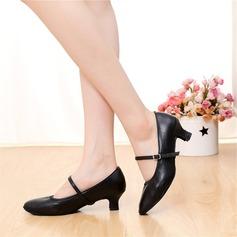 Frauen Echtleder Absatzschuhe Charakter Schuhe mit Schnalle Tanzschuhe (053108023)