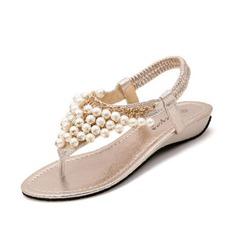 Kunstleder Keil Absatz Sandalen mit Nachahmungen von Perlen Schuhe (087063154)