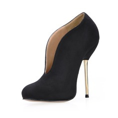 Women's Suede Stiletto Heel Closed Toe Ankle Boots shoes (088017984)