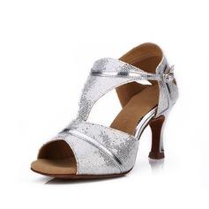 Donna Glitter scintillanti Tacchi Sandalo Latino con Fibbia Scarpe da ballo (053052420)