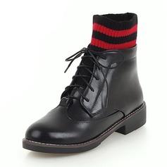 Frauen Kunstleder Stämmiger Absatz Stiefel Stiefelette mit Rüschen Geraffte Gummiband Schuhe (088175323)