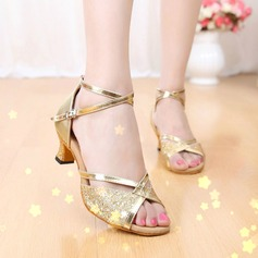 Donna Similpelle Glitter scintillanti Sandalo Latino con Listino alla caviglia Scarpe da ballo (053102993)