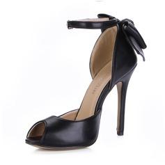 Kunstlæder Stiletto Hæl sandaler Pumps Kigge Tå med Sløjfe Spænde sko (087025068)