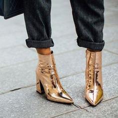 Frauen Lackleder Stämmiger Absatz Absatzschuhe Geschlossene Zehe Stiefelette mit Reißverschluss Schuhe (088182663)