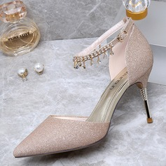 Women's Sparkling Glitter Low Heel Closed Toe Pumps With Tassel (047190310)