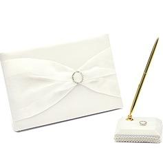 Simple Diamantes de imitación/Arco Libro de visitas & sistema de la pluma (101018185)