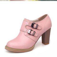 Donna Similpelle Tacco spesso Stiletto Piattaforma Punta chiusa con Fibbia scarpe (085153088)