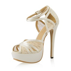 Women's Satin Stiletto Heel Pumps Sandals With Buckle Stitching Lace (047054104)