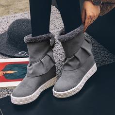 Frauen Veloursleder Keil Absatz Flache Schuhe Stiefel-Wadenlang mit Geraffte Reißverschluss Schuhe (088145057)