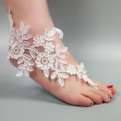 Женщины Кружева Открытый мыс Сандалии Beach Wedding Shoes с Вышитые кружева Цветок Аппликация (047123801)