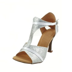 Women's Sparkling Glitter Heels Sandals Latin With T-Strap Dance Shoes (053012236)