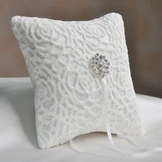 Elegant Ring Pillow in Satin/Cotton With Rhinestones/Flowers (103190788)