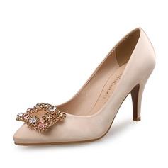 Frauen Seide wie Satin Stöckel Absatz Absatzschuhe mit Kristall Schuhe (085105799)