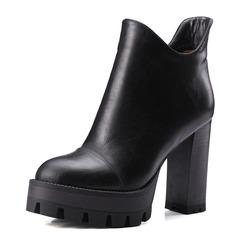 Frauen Kunstleder Stämmiger Absatz Absatzschuhe Plateauschuh Geschlossene Zehe Stiefel Stiefelette Schuhe (088095924)