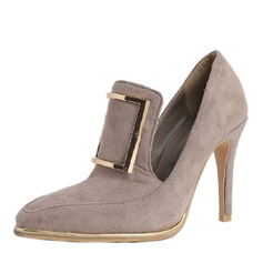 Donna Camoscio Tacco a spillo Stiletto Punta chiusa con Fibbia scarpe (085172794)