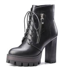 Frauen Kunstleder Stämmiger Absatz Absatzschuhe Plateauschuh Geschlossene Zehe Stiefel Stiefelette mit Reißverschluss Zuschnüren Schuhe (088095925)
