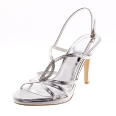 Women's Leatherette Stiletto Heel Sandals Pumps Peep Toe With Rhinestone shoes (087039119)
