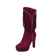 Frauen Veloursleder Stämmiger Absatz Absatzschuhe Plateauschuh Stiefel Stiefel-Wadenlang mit Niete Reißverschluss Quaste Schuhe (088138203)