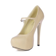 Women's Leatherette Stiletto Heel Pumps Platform Closed Toe With Buckle shoes (085016683)