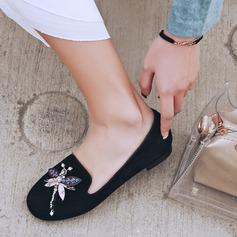 De mujer Ante Tacón plano Planos con Rhinestone zapatos (086115183)