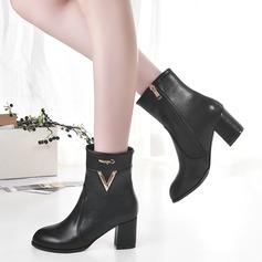 Frauen Kunstleder Stämmiger Absatz Stiefel mit Reißverschluss Andere Schuhe (088109393)
