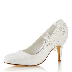 Vrouwen Kant zijde als satijn Stiletto Heel Closed Toe Pumps met Stitching Lace (047187708)