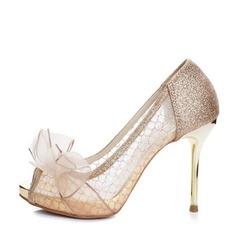 Женщины Мерцающая отделка сетка Высокий тонкий каблук Открытый мыс Платформа Beach Wedding Shoes с бантом (047126539)